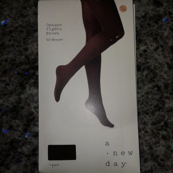 Women's 50d Opaque Tights - A New Day Brown L/Xl